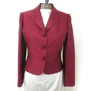 Tahari Jackets & Coats - Tahari Wool and Silk Blend Cranberry Red Blazer